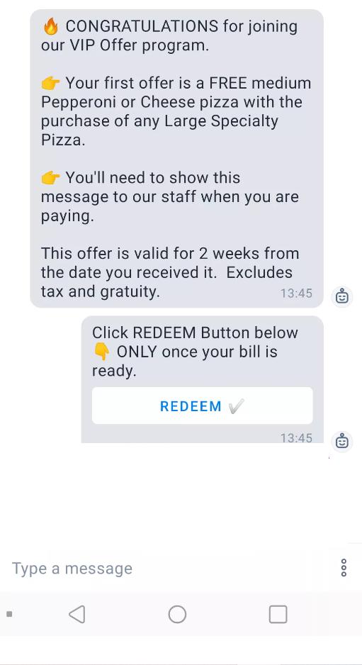 chatbot vip offer