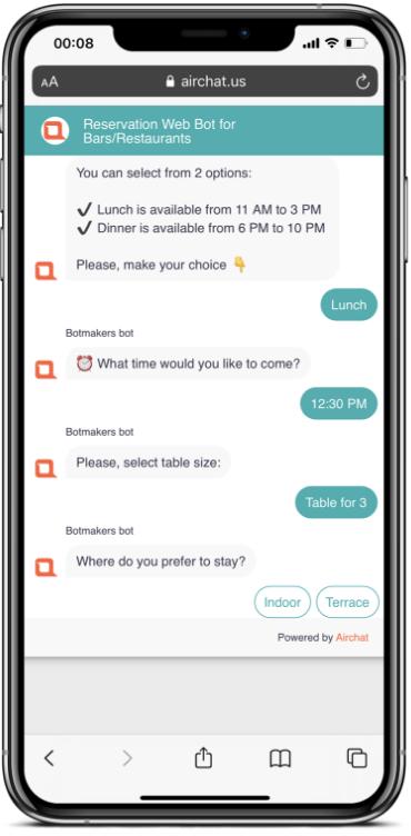 reservation chatbot
